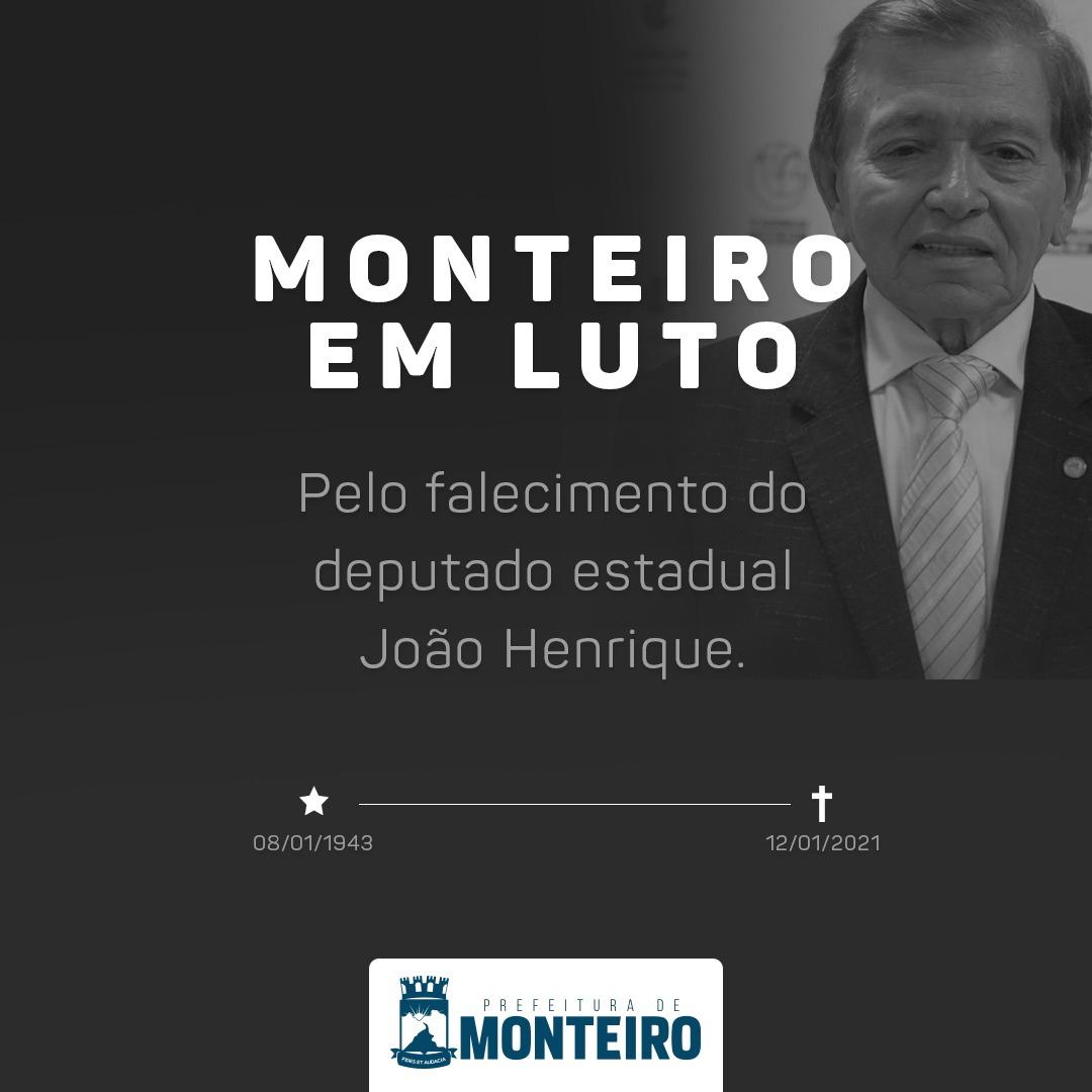 Luto-Dep.-JH Prefeitura de Monteiro manifesta profundo pesar pela morte do deputado João Henrique