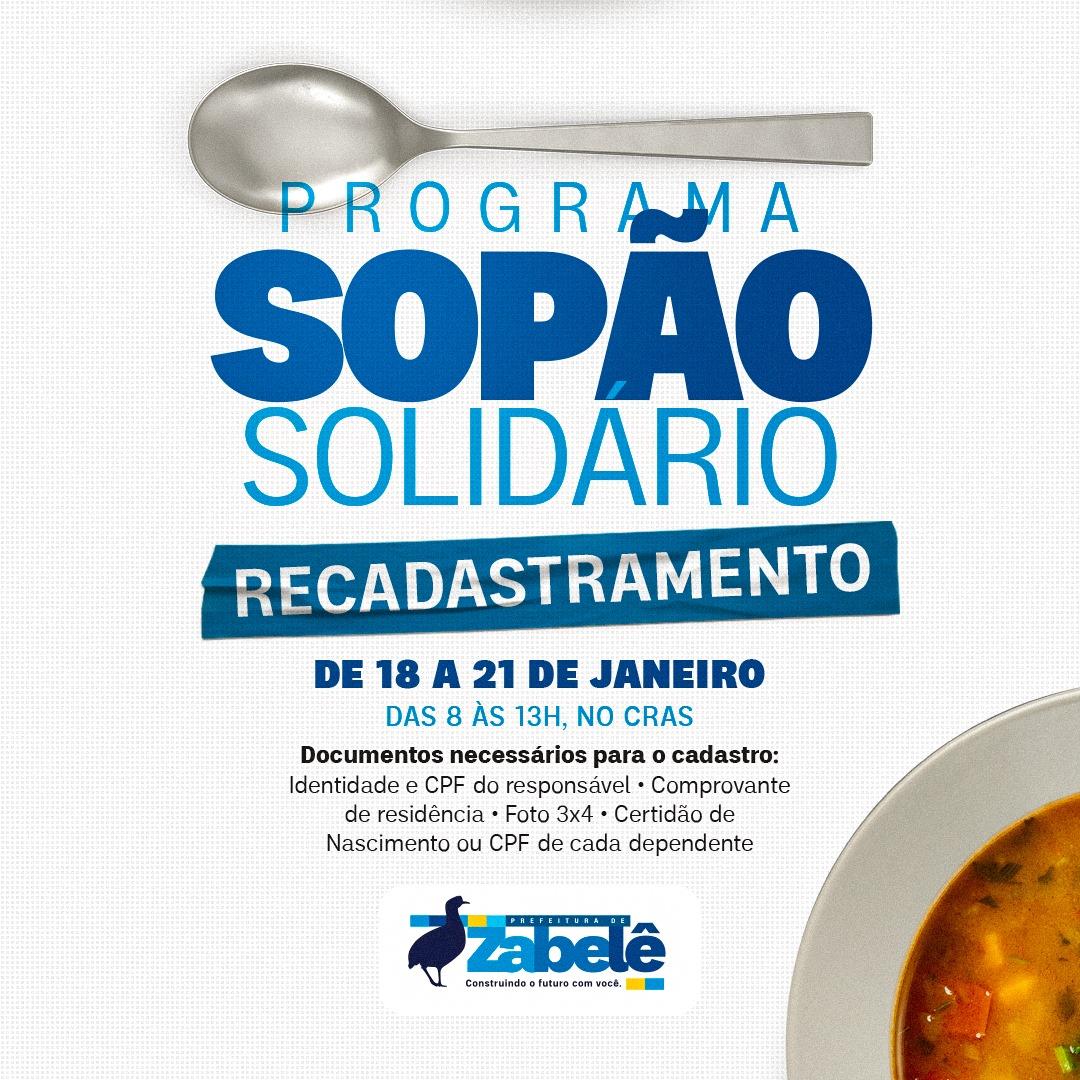 Prefeitura-de-Zabele-Sopao-Solidario Prefeitura de Zabelê realiza recadastramento do programa social Sopão Solidário