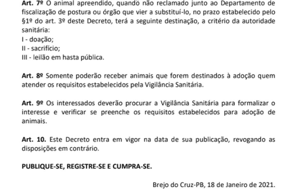 decr Decreto de prefeito autoriza sacrifício de animais soltos ou abandonados
