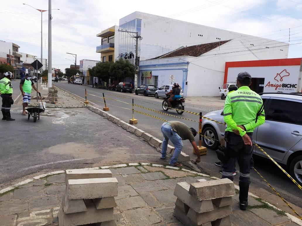 Montran-realiza-melhoramentos-no-tranito-de-Monteiro1 Montran realiza melhoramento no trânsito na avenida principal de Monteiro