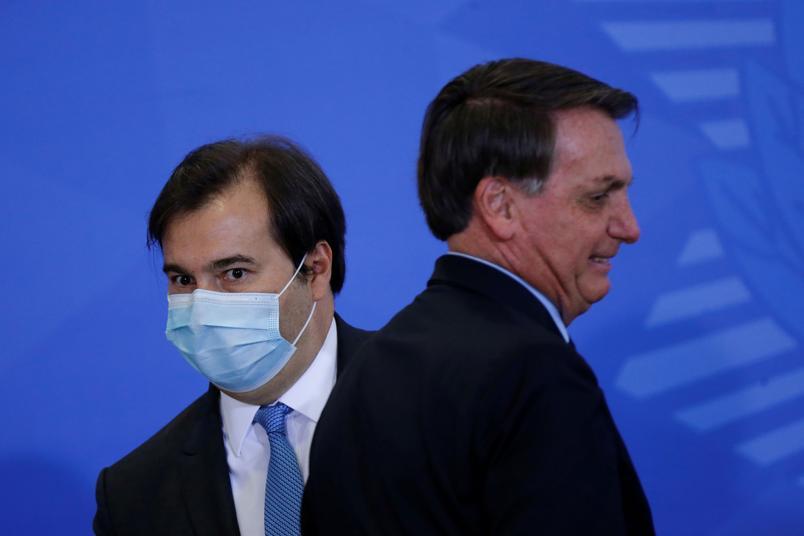 rodrigo-maia-e-jair-bolsonaro Eleição para presidente da Câmara nesta segunda-feira opõe candidatos de Bolsonaro e Maia