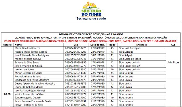 Z1 Prefeitura de São João do Tigre confirma vacinação para público geral entre 40 e 44 anos nesta quarta-feira